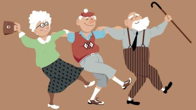 Ilustração de idosos dançando