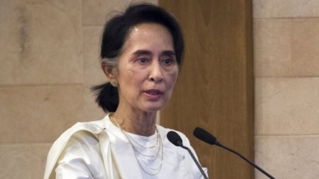 Myanmar's State Counsellor Aung San Suu Kyi pictured during a memorial ceremony for murdered lawyer Ko Ni and taxi driver Ne Win in Yangon on 26 February, 2017.