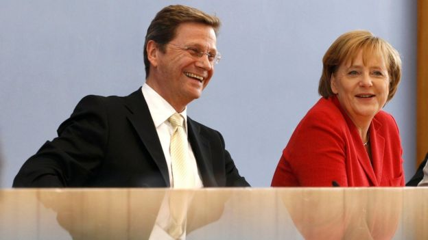 German Chancellor Angela Merkel and Vice Chancellor and Foreign Minister Guido Westerwelle during a news conference in Berlin, Germany, in this June 7, 2010 file photo