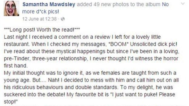 La joven advertía en Facebook que se trataba de una publicación larga pero que