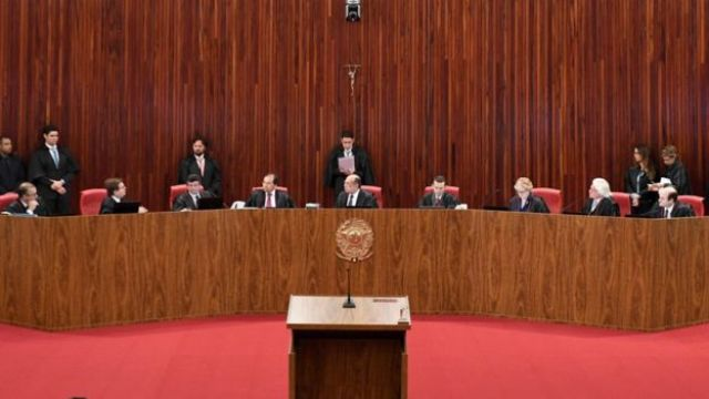 General view of the Supreme Electoral Court (TSE) session examining whether the 2014 re-election of president Dilma Rousseff and her then-vice president Michel Temer should be invalidated because of corrupt campaign funding