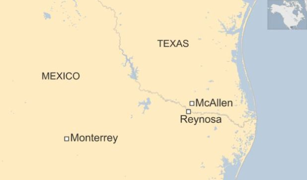 Map of US-Mexico border