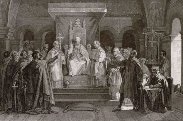 An etching commemorating Pope Honorius II's granting official recognition to the Knights Templar in 1128