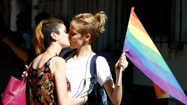 Two activists kiss at the banned Istanbul Trans Pride event, 19 June