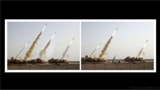 Comparação de fotos de teste militar iraniano