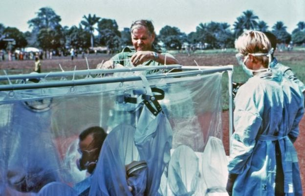 A suspected Ebola victim in isolation in Zaire in 1976