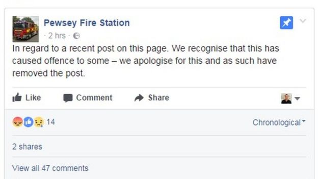 Pewsey Fire station Facebook post