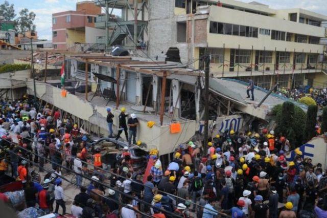 Escuela Enrique Rébsamen tras el terremoto.