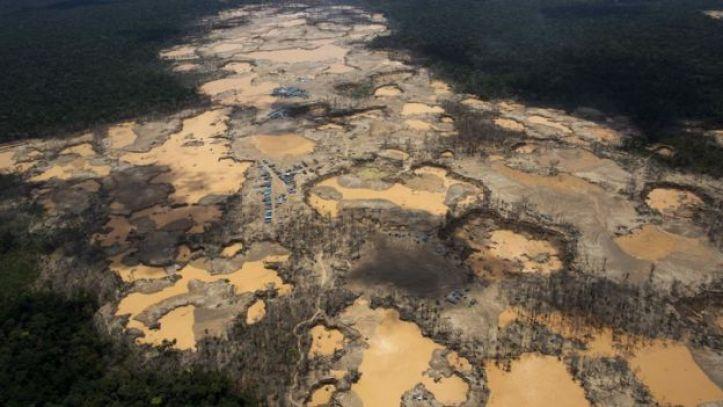 Vista de campamentos ilegales de extracción de oro en la selva.