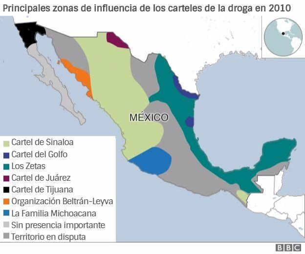 Principales zonas de influencia de los carteles de la droga en 2010