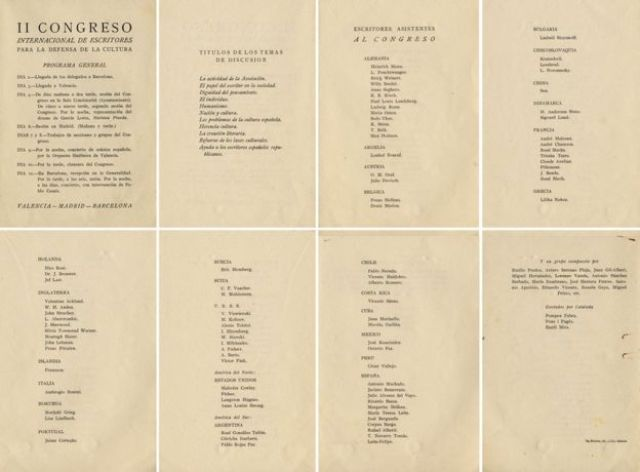 Lista de participantes en el II Congreso Internacional de Intelectuales para la Defensa de la Cultura, celebrado en 1937 en Valencia, España.