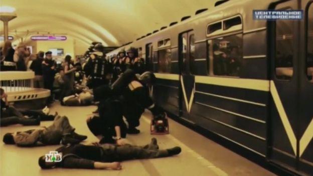 Truyền hình Nga phát đi bài tập tự vệ dân sự