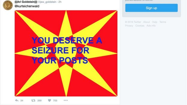 The red and yellow picture with blue lettering tweet which allegedly caused the seizure