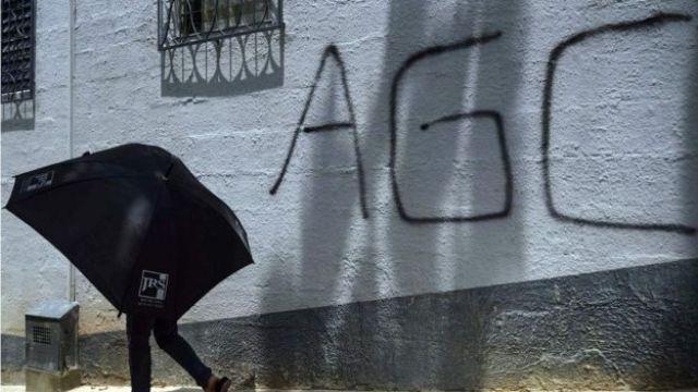 Pintada de las AGC en la ciudad de Medellín.