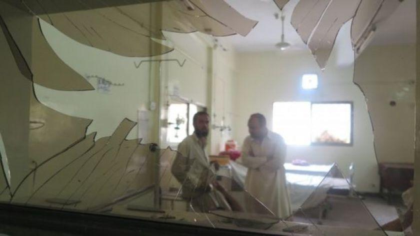 Hospital interior with broken window after blast