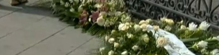 Flowers in front of church where Tiziana's funeral is held, 15 September 2016