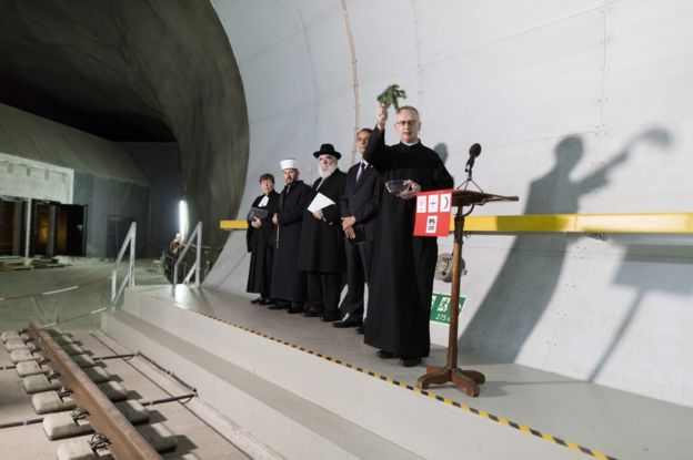 Religious figures attend a blessing of the Gotthard tunnel, 1 June