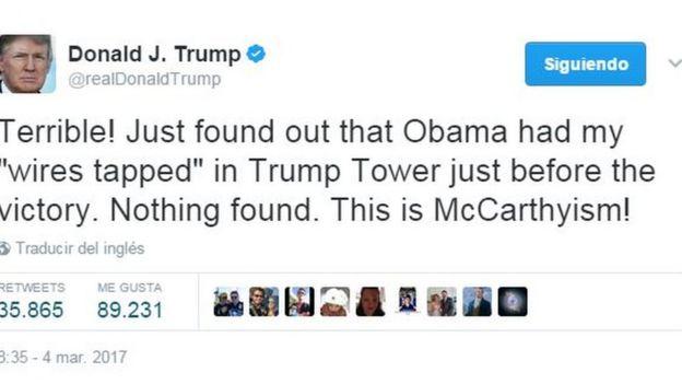 Tuit de Donald Trump que dice: