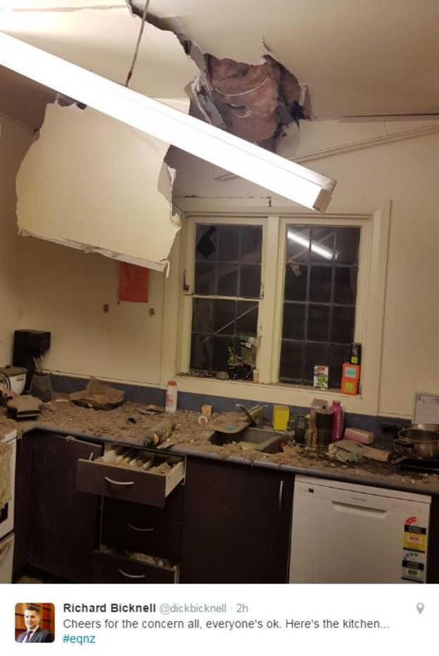 A picture shared on Twitter showing damage to a kitchen in Wellington
