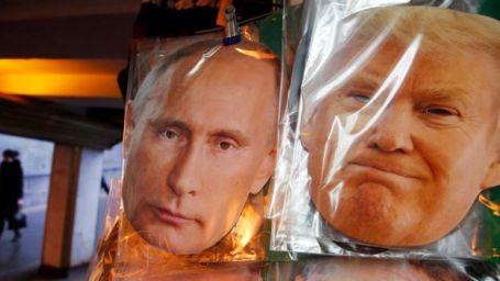 Afiche con los rostros de Putin y Trump