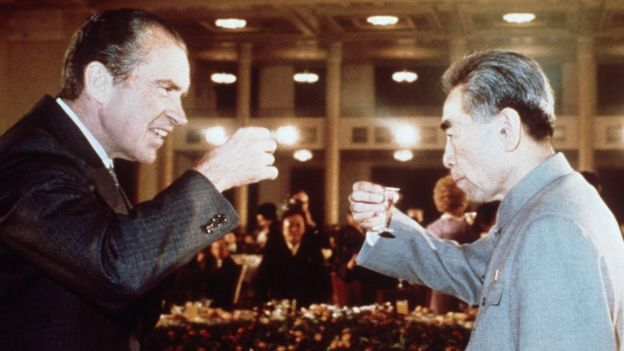 US President Richard Nixon toasts with Chinese Prime Minister Zhou Enlai in February 1972 in Beijing