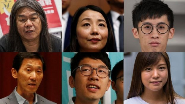 Clockwise from top left: Leung Kwok-hung, Lau Siu-lai, Sixtus Leung, Yau Wai-ching, Nathan Law and Edward Yiu. Copyright: EPA, Reuters, and AFP