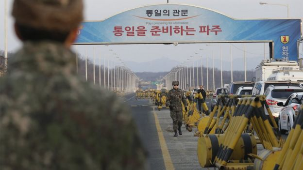 South Korea military near the border with the North. 11 Feb 2016