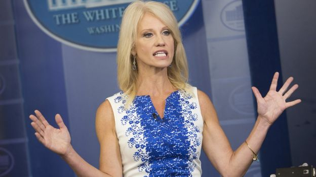 Kellyanne Conway, adviser to President Donald Trump, gives an interview at the White House on August 3, 2017