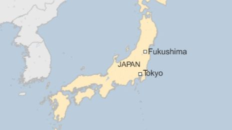 Map showing location of Fukushima