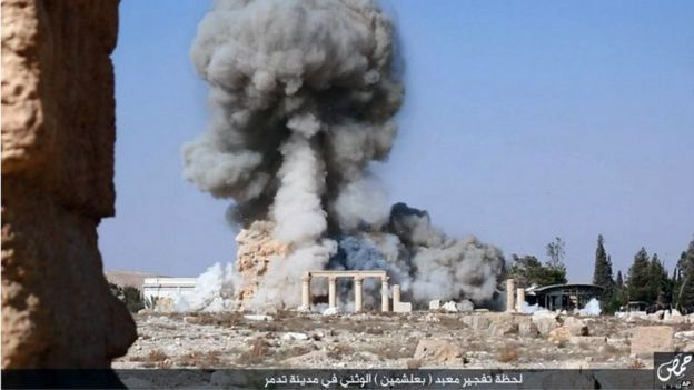 Still showing explosion at Temple of Baalshamin in Palmyra (Aug 2015)