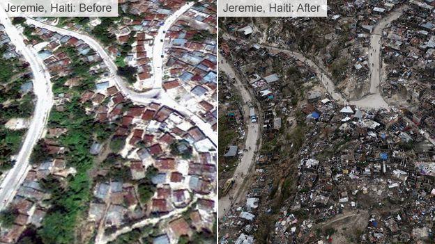 Damage caused by Hurricane Matthew in Jeremie, Haiti
