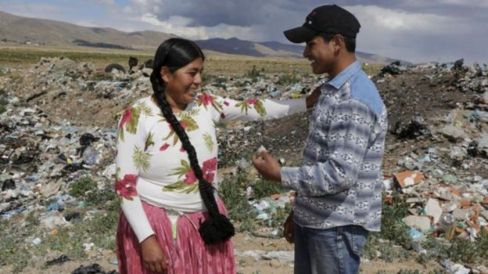 Esteban Quispe y su madre, Teresa.