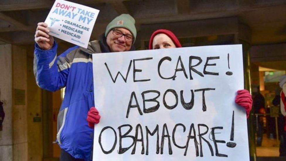 Manifestantes pedem permanência do Obamacare