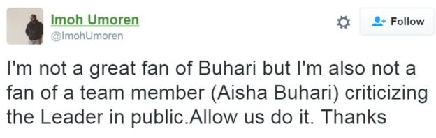 Tweets from Imoh Umoren: Aisha Buhari is my new favorite person!! I have the biggest respect for people who stand up and speak up for what they believe