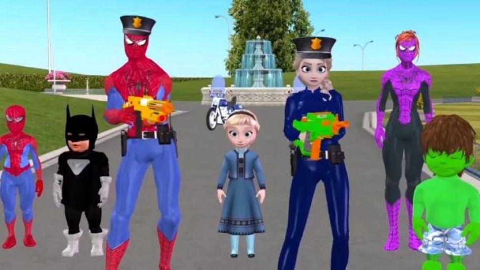 Dibujo en YouTube mostrando a Spiderman con un arma de fuego.