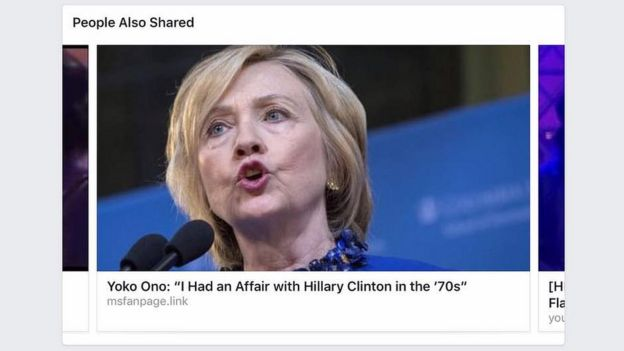 A fake news story on Facebook