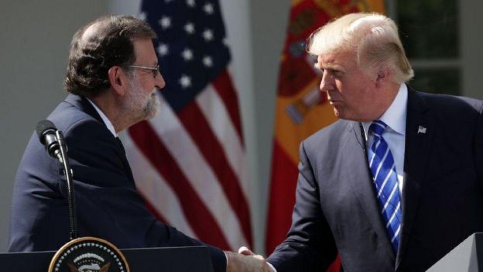 El presidente de España, Mariano Rajoy, y el de EEUU, Donald Trump.