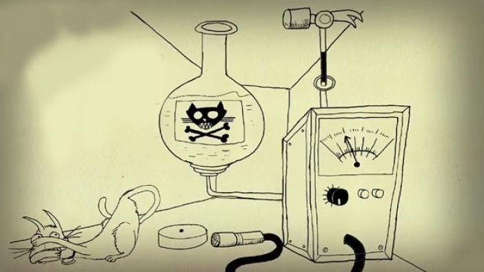 Ilustración del gato en la caja de Schrödinger.
