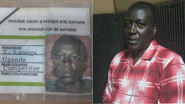 Composite photo shows defender Tom Lwanga's 1978 Afcon accreditation, next to a photo of him now