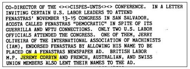 CIA papers naming Jeremy Corbyn as attending a meeting in San Salvador
