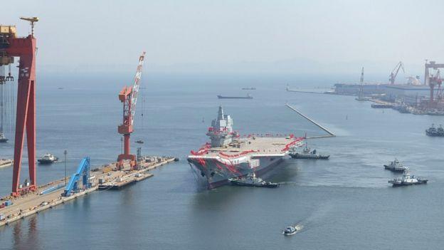 Aircraft carrier sets sail in Dalian
