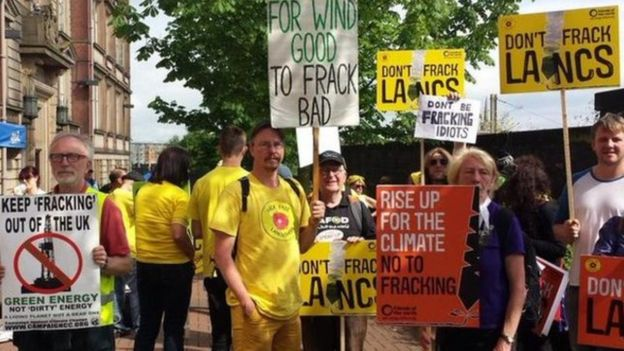 ( Anti-fracking protest via BBC News )