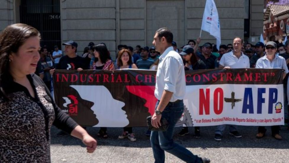 Protestos contra AFPs (administradoras de fundos de pensão) no Chile