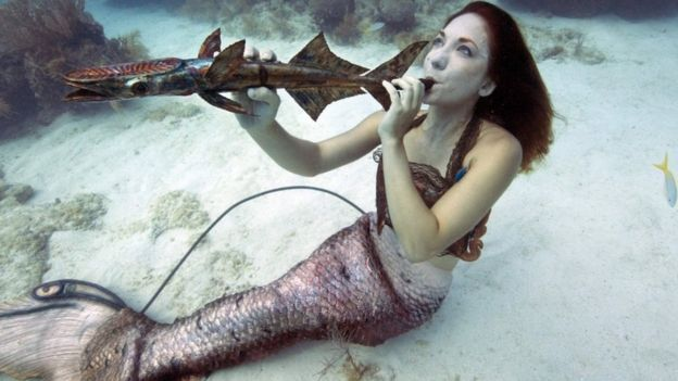 Mariah Reynolds, garbed as a mermaid