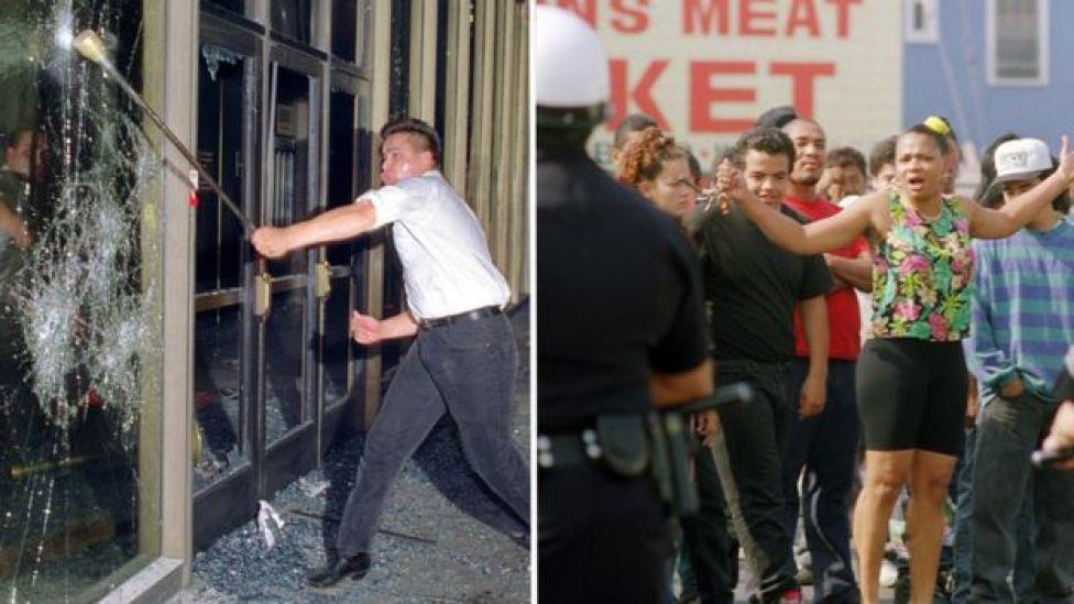 Protestas en Los Ángeles en 1992.