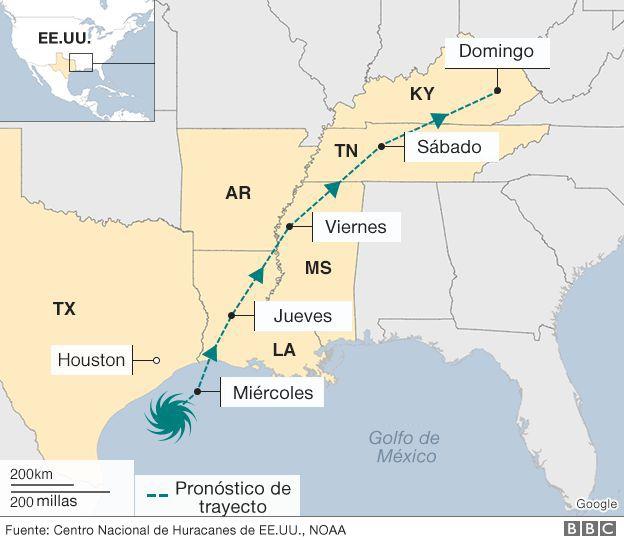 Mapa con la previsión del comportamiento de Harvey para los próximos días