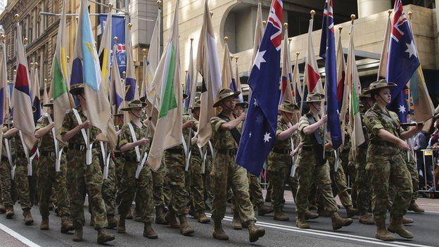 Army cadets taking part in Anzac Day parade in Sydney, Australia, on 25 April 2015