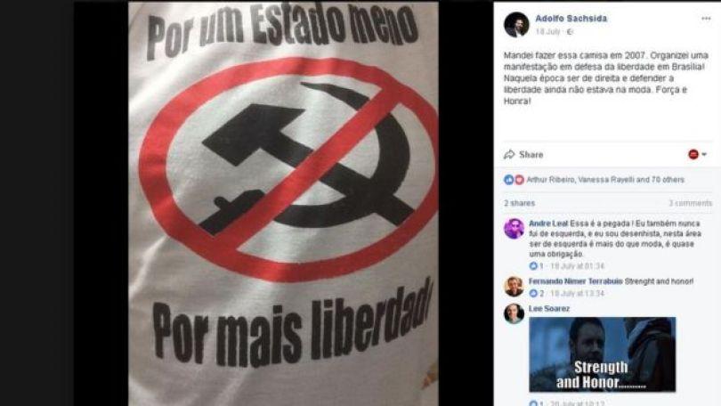 Post do Facebook de Adolfo em 18 de julho de 2017, no qual mostra estampa da camiseta que comprou com um sinal de proibido na foice e no martelo, símbolos do comunismo