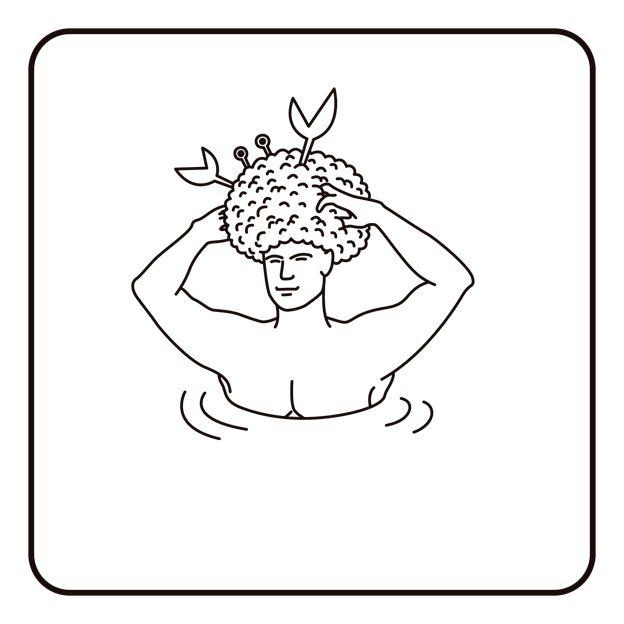 Dibujo de persona con algo en la cabeza
