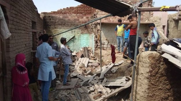 Collapsed home in Kheragarh